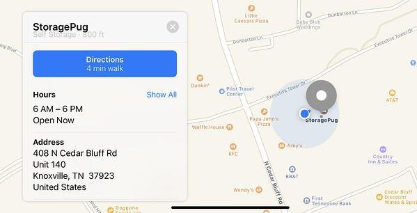 StoragePug Apple Maps Business Listing