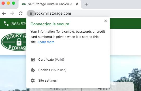 Rocky Hill Storage Website SSL Certificate